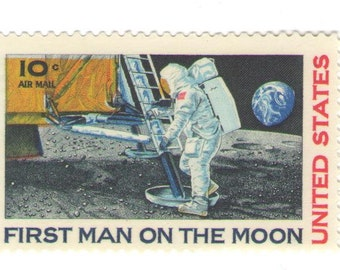 10 Unused 1969 - First Man on the Moon - Neil Armstrong - Vintage Airmail Postage Stamps Number C76