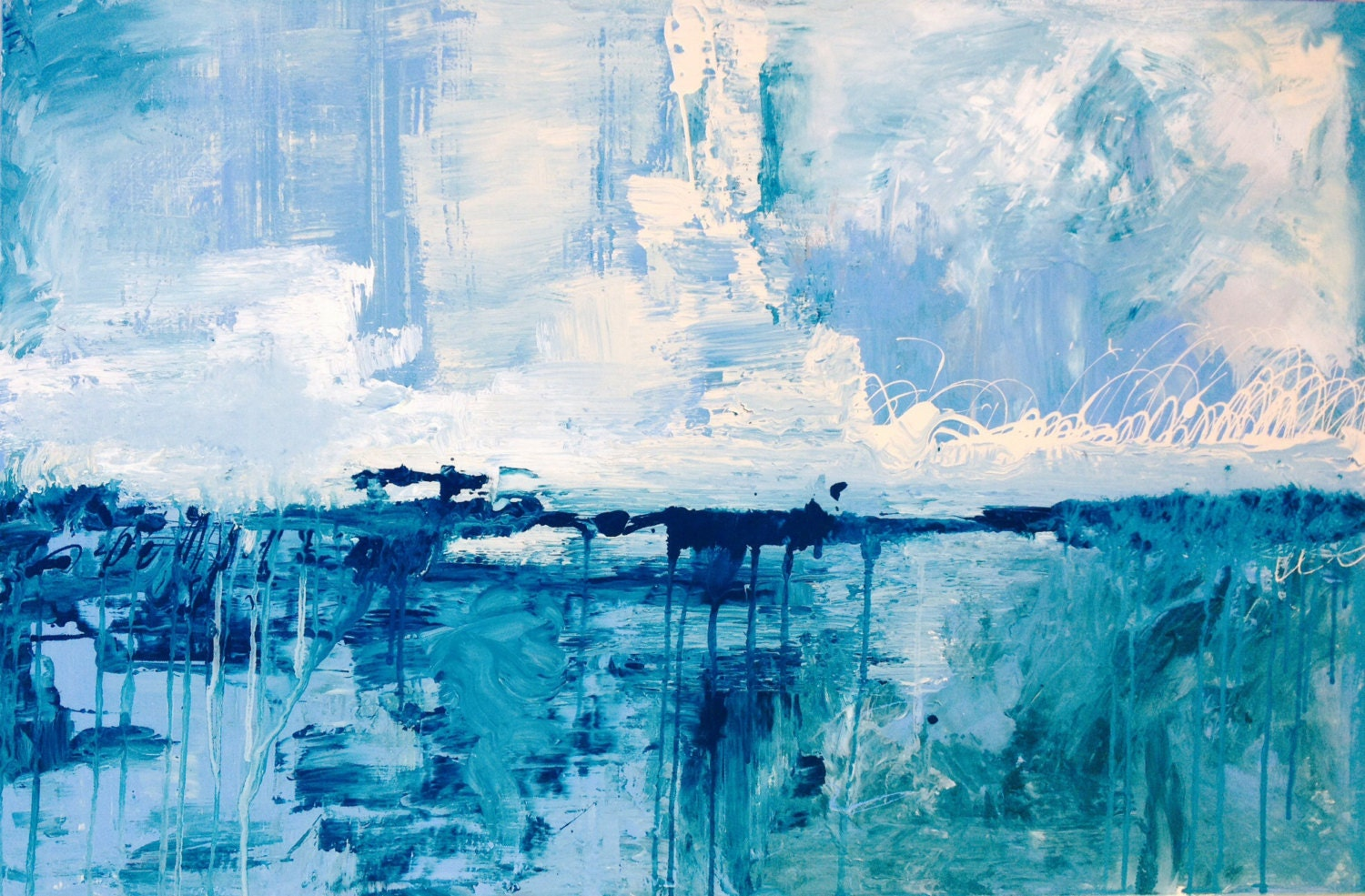 Teal Abstract Painting 24 X 36 Gallery Wrapped Acrylic On
