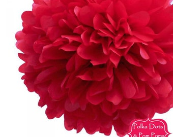 3 x 20cm Cherry Red Tissue Paper POM POM / Paper Flower / Birthday Party Decorations and Supplies / Wedding / Baby Shower / JPP20RED