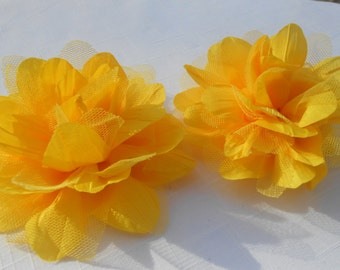 """Yellow Frayed Lotus  Lace flower ,mesh,approx. 5""""  or 13 cm in diameter , use in DIY craft for baby,children accessories"""