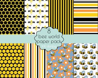 """Set of scrapbooking paper """"Bee world"""""""
