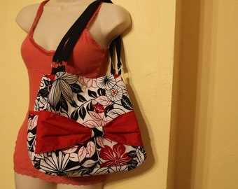Black and red flowered bow purse