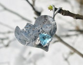 Swiss Blue Topaz  Adoption Pendant in .999 fine silver & Sterling SIlver