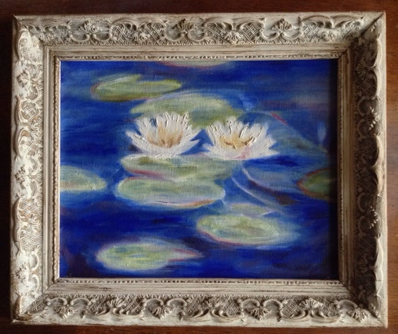 8x10 framed oil painting reproduction of monet 39 s water for Framed reproduction oil paintings