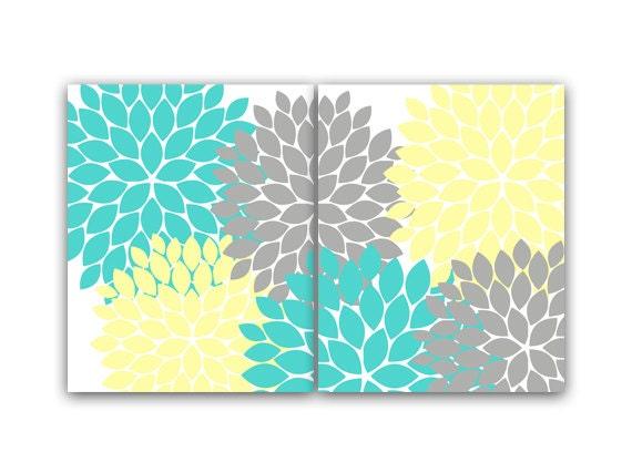 Home Decor Wall Art Yellow And Turquoise Aqua Flower Burst