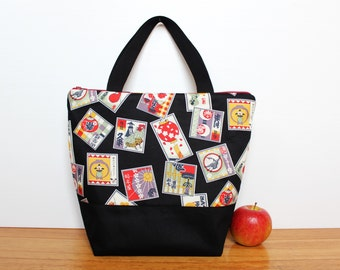 Insulated Lunch Bag / lunch Tote, Australian made, zipped, waterproof lining – Large, Japanese Matsuri Festival Black