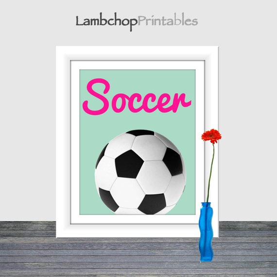 Girl Sports Decor Soccer Wall Art Teen Art Girl Nursery