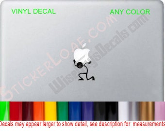 Atlas Guy Carrying Apple Laptop Decal Sticker macbook mac book laptop skin lap top decals stickers Stick figure carry