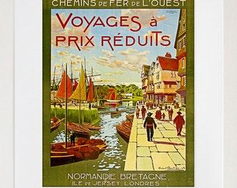 Travel Poster France Art Print Normandie Vintage Home Decor (ZT122)