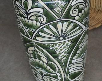 Talavera green flower vase