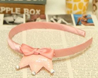 Kids Headband, Girl Headbands, Spangle Crown Ribbon Headband for Kids - Pink