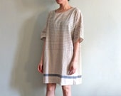 Nautical linen dress with rolled tab sleeves