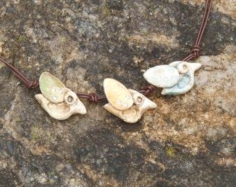Necklace Ceramic Birds
