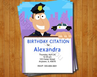 Police Party Invitation - printable birthday invite for a Cop Birthday Party