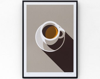 Espresso limited edition screen print, size A3, hand-printed in 3 colours