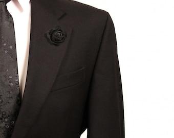 Men's Black Felt Flower Lapel Pin