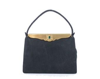 Vintage 40s Cocktail Bag Evening Handbag Emerald Jewel Black Nubuck Leather Handbag Womens 1950s Fashion Accessories Art Deco Purse