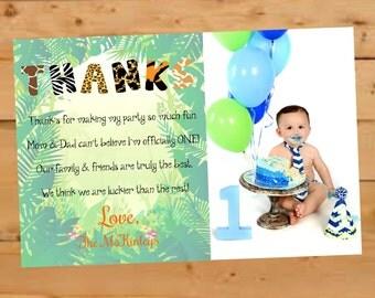 Birthday Thank You Card, Jungle Themed Thank You Card, Safari Thank You, First Birthday Thank You Card, One Year Old Thank You Card, Thanks