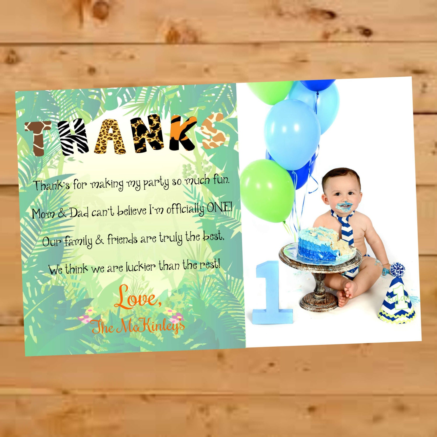 Birthday Thank You Card Jungle Themed Thank You Card Safari – Thanks for Birthday Card