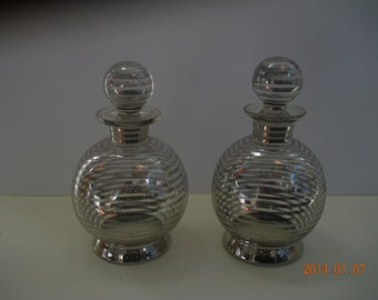 Pair of Sterling Silver Overlay Perfume Bottles