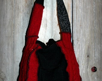 Fairy Patchwork Sweater Purse of Red and Black