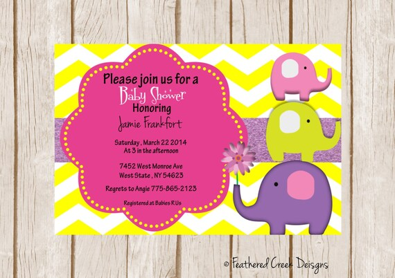 zoo jungle elephant themed baby shower 5x7 file girl baby shower