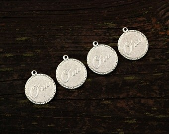 Silver French Brass Charms Pendants, Oui Yes Charms, 4pcs