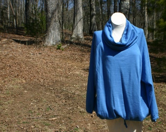 1980's Cozy Oversized Slouchy Cobalt Blue Sweatshirt with a Cowel Neck.  Size L / XL. Casual Hipster Sweatshirt.