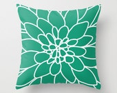 Dahlia Flower Pillow Cover - Modern Home Decor - By Aldari Home - Emerald Green and White Flower Pillow