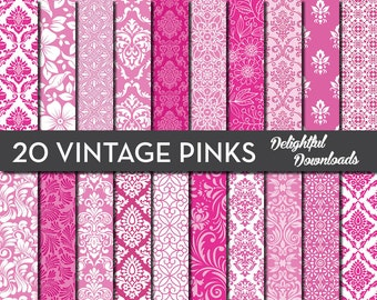 "Pink Floral Digital Paper ""20 VINTAGE PINKS"" with 20 pink floral damask digital papers for scrapbooking, cards, prints."