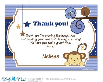 Cocalo Monkey Mania Thank you Card with Personalization Cocalo Monkey Mania Baby Shower or Birthday Card DIY - oz31bs1