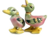 Pink and Green Duck Salt Pepper Shakers Mid Century Japan Retro Salt & Pepper Set Hostess Gift Idea for Collector