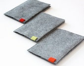 Grey Felt Passport Cover, Passport Holder, Passport Wallet. Decorated with Colorful Canvas Label.