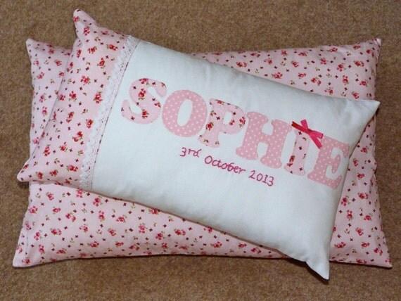handmade personalised name cushion girls blue pink birthday. Black Bedroom Furniture Sets. Home Design Ideas