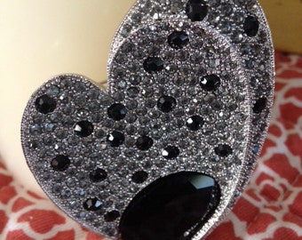 Black Heart Rhinestone and Silver Tone Classic Brooch Sweetheart Pin