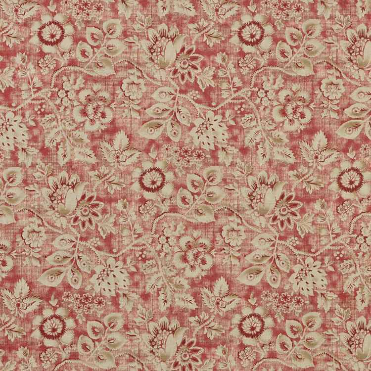 MISS KITTY BRICK Floral Home Decor Fabric by Braemore