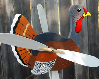 Turkey Whirligig - Whether as a centerpiece on your table or flying outside the turkey is a welcome addition to any home.
