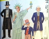McCalls 8701 Men's Women's Patriotic Costumes: Uncle Sam, Abe Lincoln, Statue of Liberty, George Washington Chest Size 40 42 Sewing Patterns