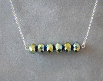 Iridescent Crystal Bar Necklace, Bridal Jewelry, Hand Beaded Dainty Crystal Necklace