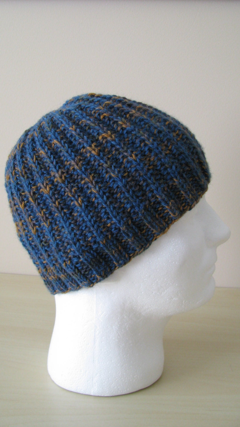 Crochet Patterns Medium Weight Yarn : Mens Knitted Hat Ethan medium weight made by NeedleLoveKnits
