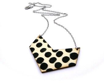 Polka Dot Necklace - Polka Dot Jewelry - Chevron Necklace - Chevron Jewelry - Lasercut  Necklace - Lasercut Jewelry - Natural Wood Jewelry