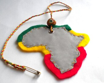 Reflective Africa continent pendant, soft safety reflector bag charm, rasta colors, reflective accessories