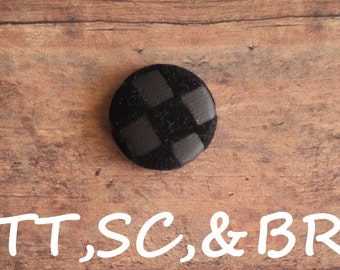 Black checker print fabric covered buttons  (Tie Tacks, Shoe Clips, Brooch)
