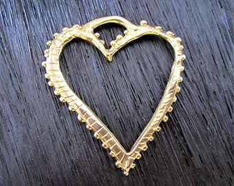 Large, Dotted, Gold Bronze Heart Charm and Pendant (one) (A)