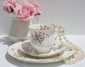 Antique  English Fine Bone China Tea Cup and Saucer Trio,Tea Cup Set made in England by Paragon. Tea party, Bridal Shower.