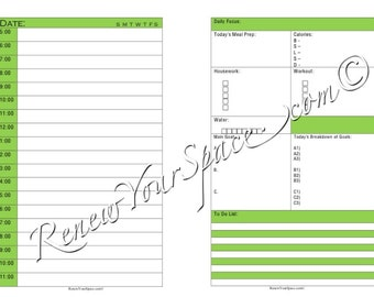 Printable Focus Sheet (Green) - Day on Two Pages Half Letter