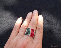 Watermelon fruit ornament pattern flat band ring - woven jewelry - fruit pattern jewelry -