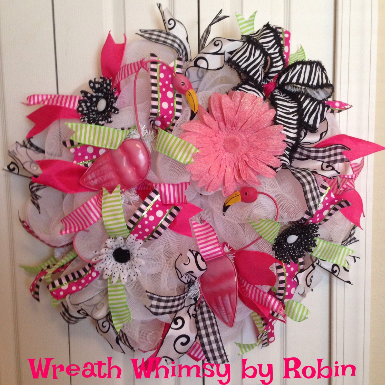 pink flamingo deco mesh wreath