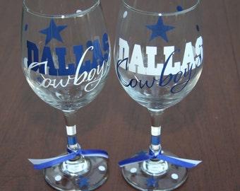 Dallas Cowboys Glassware, Sports Glassware, Football, Go Cowboys!