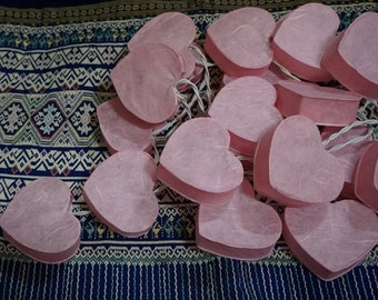 20 Bulbs Pink Heart Paper Lantern String Lights for Party Wedding and Decorations
